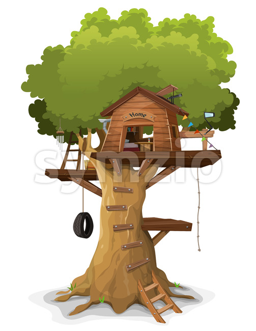 Illustration of a cartoon kid's tree house, constructed in a big oak with home objects and accessories inside, isolated on ...