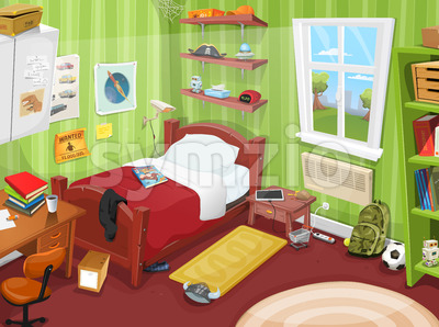 Some Kid Or Teenager Bedroom Stock Vector