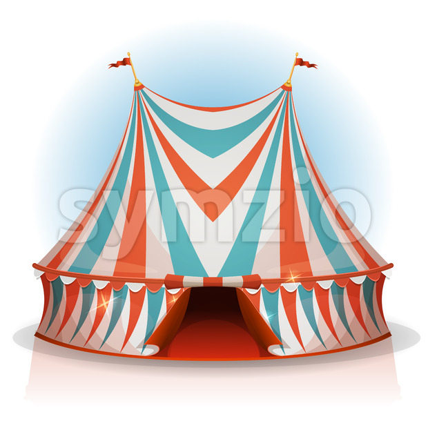 Illustration of a cartoon big top circus tent, with red, blue and white stripes, for funfair and carnival holidays, isolated ...