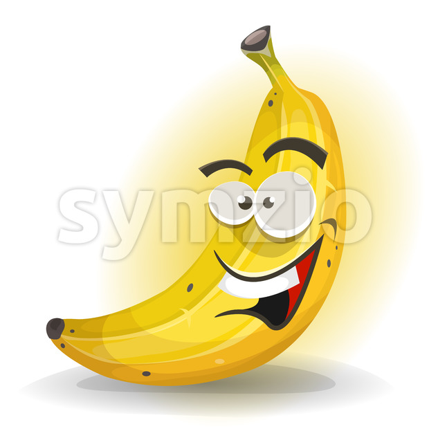 Illustration of a cartoon appetizing banana character, happy and smiling