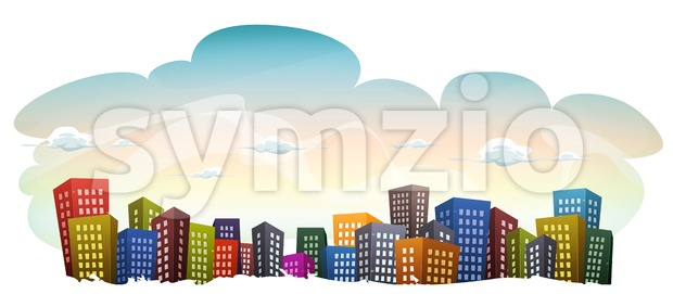 Cityscape With Buildings On Sky Background Stock Vector
