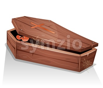 Eyes Of Vampire Inside Wood Coffin Stock Vector