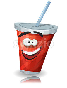 Cup Of Soda Character With Straw Stock Vector