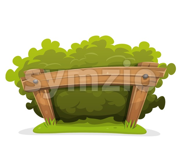 Cartoon Hedge With Wood Barrier Stock Vector