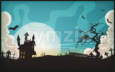 Halloween Landscape Background Stock Vector