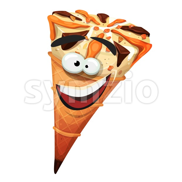 Illustration of a cartoon icecream cone character, happy and smiling