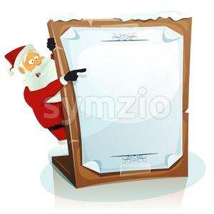 Santa Claus Pointing Christmas Background Stock Vector