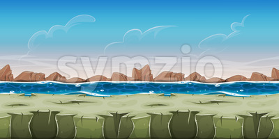 Seamless Ocean Landscape For Game Ui Stock Vector