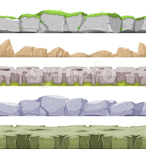 Seamless Rocky Landscape And Stony Grounds For Game Ui Stock Vector