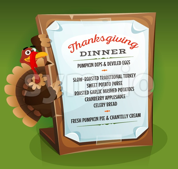 Turkey Holding Thanksgiving Dinner Menu Stock Vector