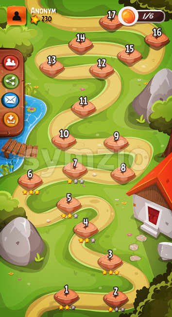Illustration of a graphic game user interface background, in cartoon style with vertical seamless spring landscape, level select and basic ...