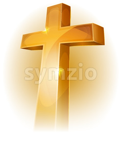 Gold Christian Cross Stock Vector