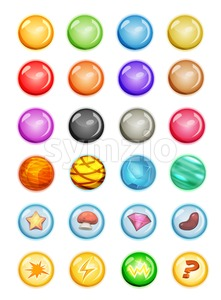Set Of Bubbles And Magic Balls For Game Ui Stock Vector