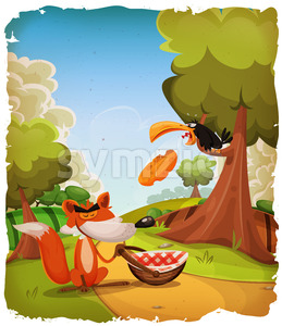 The Crow And The Fox Story Scene Stock Vector