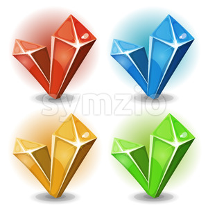 Cartoon Gems And Diamonds Icons Stock Vector