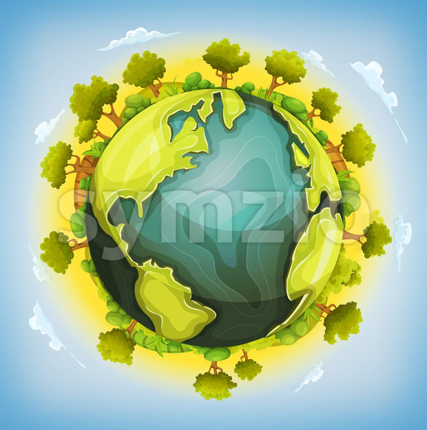Earth Planet With Forest And Agriculture Elements Around Stock Vector
