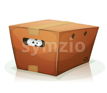 Eyes Inside Cardboard Box Stock Vector