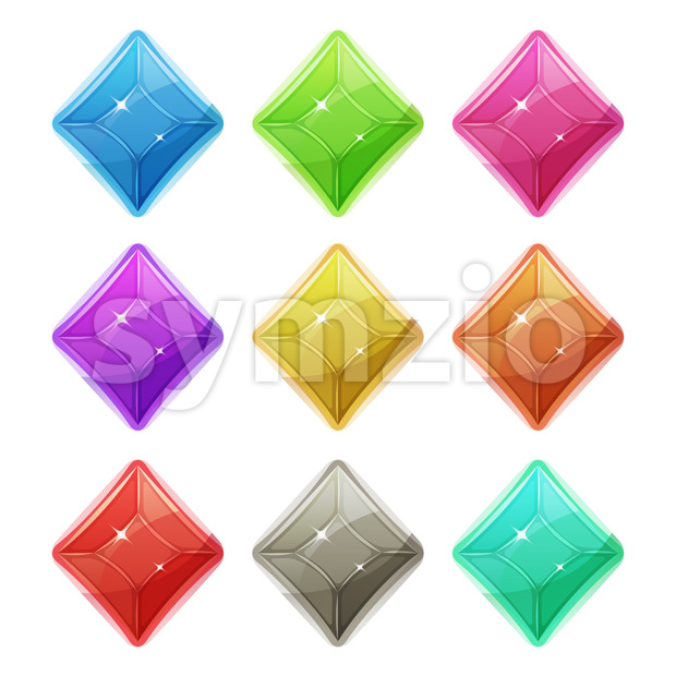 Gems, Crystal And Diamonds Icons For Game UI Stock Vector