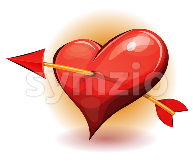 Red Heart Icon Pierced By Arrow Stock Vector