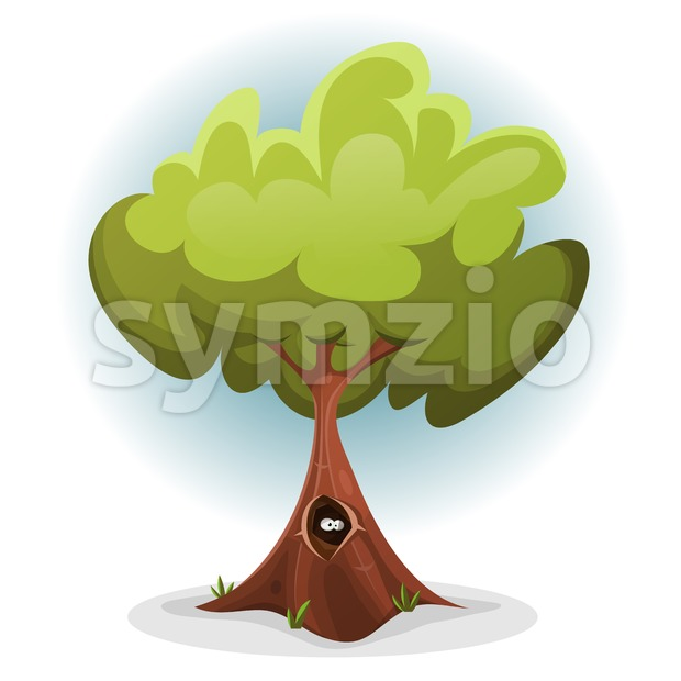 Funny Bird Or Squirrel Nest inside Tree Trunk Stock Vector