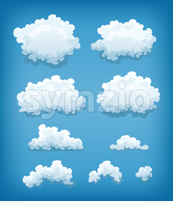 Clouds Set On Blue Sky Background Stock Vector