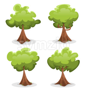 Funny Green Trees Set Stock Vector