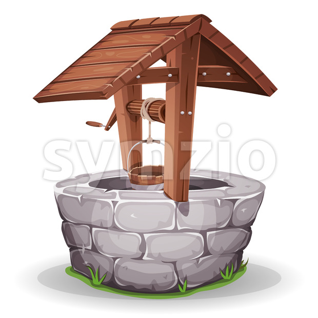 Stone And Wood Water Well Stock Vector