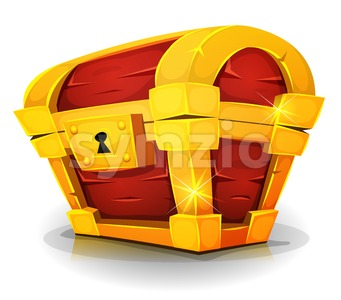 Cartoon Treasure Chest For Game Ui Stock Vector