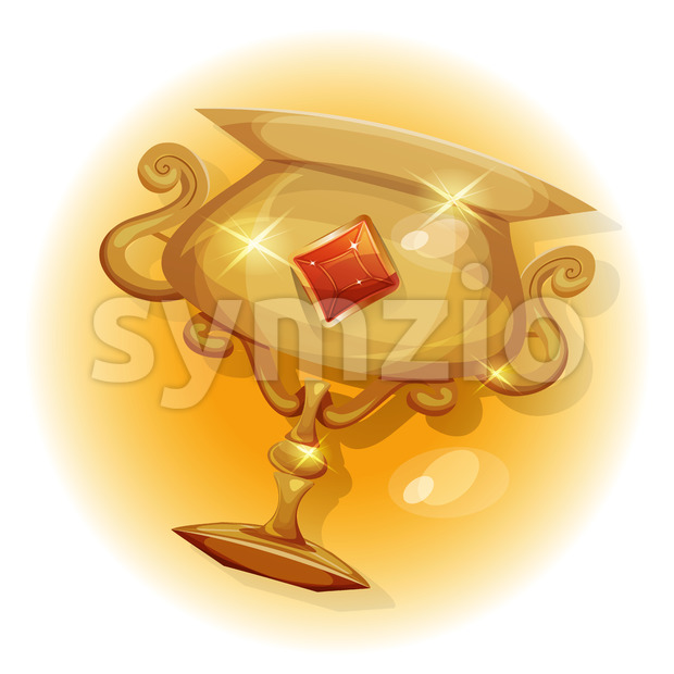 Winners Gold Trophy For Game UI Stock Vector