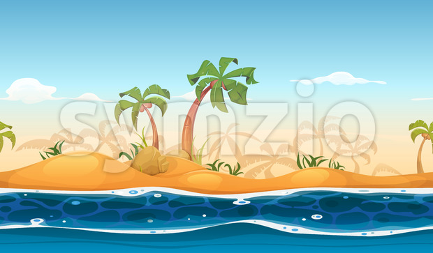 Seamless Tropical Beach Landscape Stock Vector