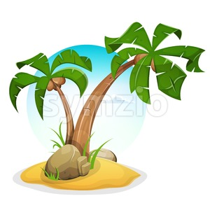 Tropical Island With Palm Trees Stock Vector