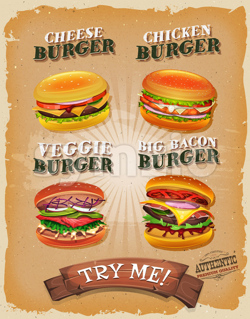Grunge And Vintage Burger Menu Stock Vector