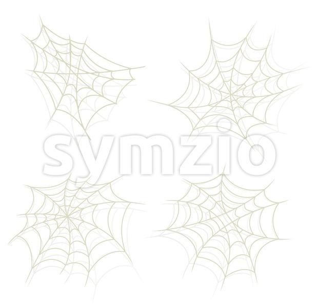 Illustration of a set of cartoon spider web