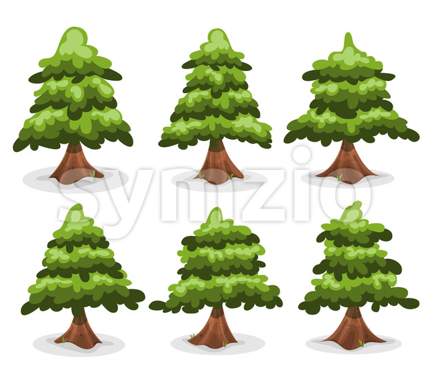 Pine Trees And Firs Collection Stock Vector