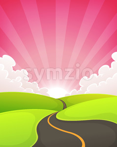 Road Snaking Inside Dawn Landscape Stock Photo