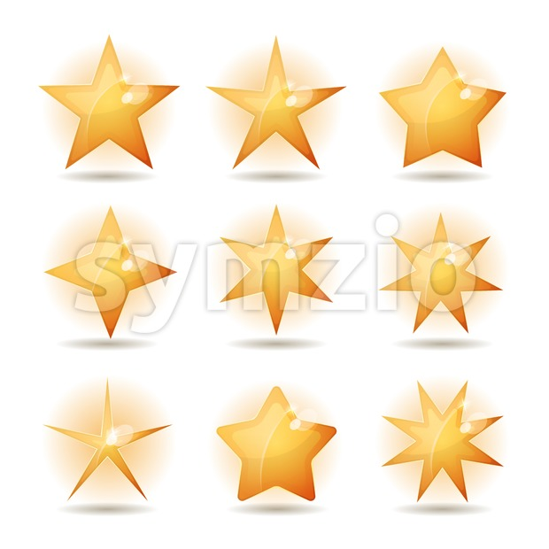 Gold Stars Icons Set Stock Vector