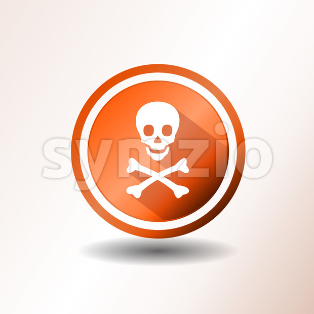 Illustration of a flat design warning icon, with skull head and cross bones on orange and grey background