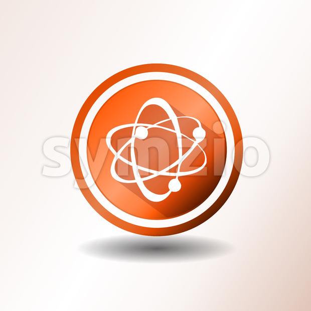Illustration of an orange flat design atom icon, symbolizing science and nuclear energy