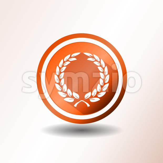Award Laurel Wreath Icon In Flat Design Stock Vector