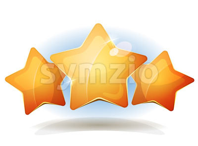 Funny Three Stars Icons For Ui Game Score Stock Vector
