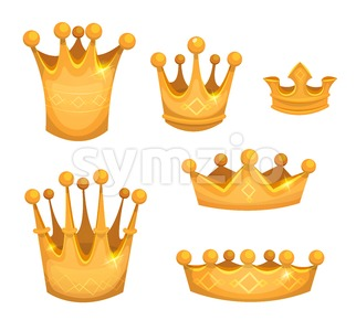 Royal Golden Crowns For Kings Or Game Ui Stock Vector