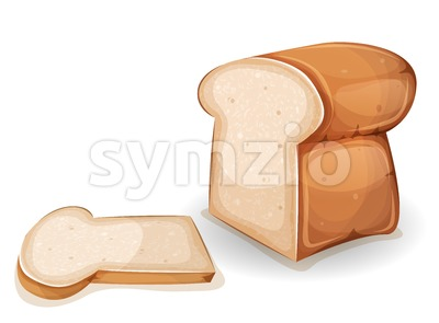 Bread Or Brioche With Slice Stock Vector