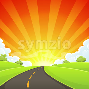 Summer Road With Shining Sun Stock Vector