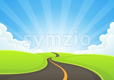 Country Road On Blue Sky And Sunbeams Stock Vector
