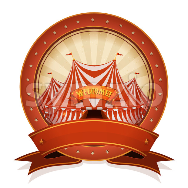 Vintage Circus Badge And Ribbon With Big Top Stock Vector