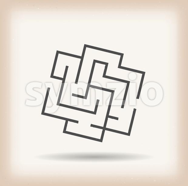 Maze Symbol On Vintage Background Stock Vector