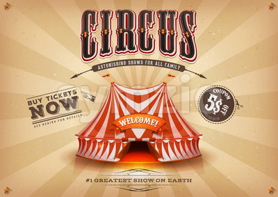 Vintage Old Horizontal Circus Poster Stock Vector