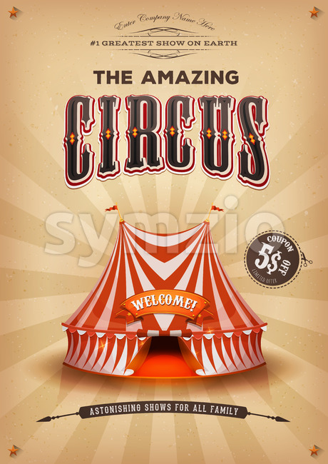 Vintage Old Circus Poster With Big Top Stock Vector