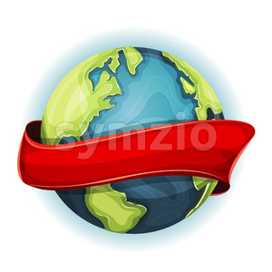 Earth Planet With Ribbon Stock Vector