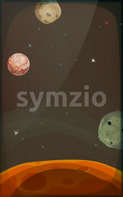 Space Background With Planets And Stars For Mobile Stock Vector